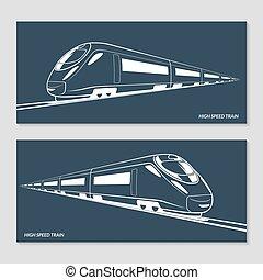 jogo, de, modernos, velocidade, trem, silhuetas, esboços, contours., vetorial, ilustração