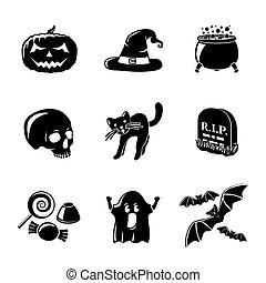 jogo, de, monocromático, dia das bruxas, ícones, -pumpkin, chapéu bruxa, cauldron, cranio, gato, sepultura, doce, fantasma, bats., vetorial