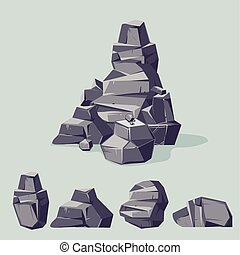jogo, de, montanha, cinzento, rocks., caricatura, isometric, 3d, apartamento, style., jogo, de, diferente, pedregulhos