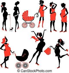 jogo, de, mulher grávida, silhuetas, em, preto vermelho, cores, isolado, branco, experiência., elementos, para, estilo vida, design., andar, com, buggy, shopping, chatting.