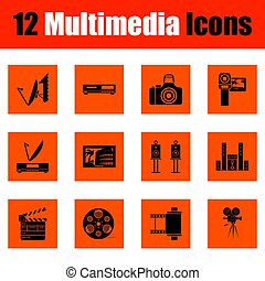 jogo, de, multimedia, ícones