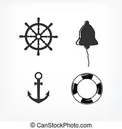 jogo, de, náutico, ícones