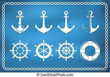 jogo, de, náutico, e, marinho, ícones