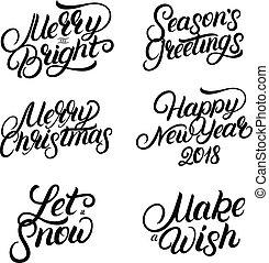jogo, de, natal ano novo, 2018, mão escrita, lettering, quotes.