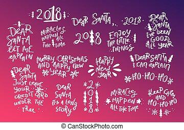 jogo, de, natal ano novo, mão, desenhado, lettering, citação