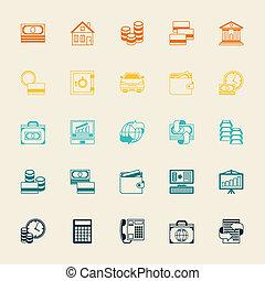 jogo, de, negócio, e, operação bancária, icons.