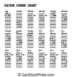 jogo, de, notas música, .abstract, musical, experiência., básico, guitarra, cordas, guitarra, cordas, notas, nota música, jogo, música, note.