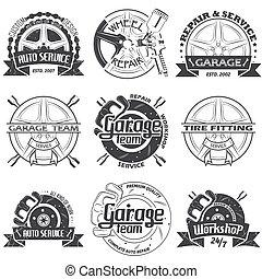 jogo, de, nove, garagem, logotipo