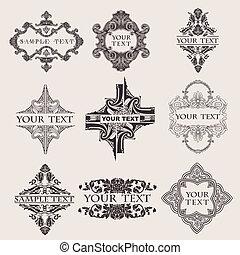 jogo, de, nove, ornate, bandeira, texto, quad