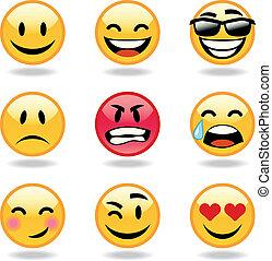 jogo, de, nove, smileys