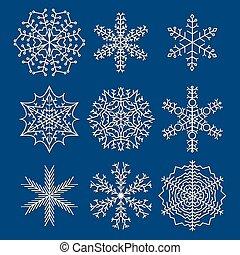 jogo, de, nove, snowflakes