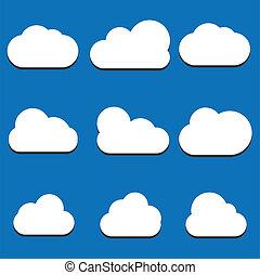 jogo, de, nuvem, ícones, em, trendy, apartamento, estilo, isolado, ligado, azul, experiência., nuvem, símbolo, para, seu, web site, desenho, logotipo, app, ui., vetorial, ilustração, eps10.