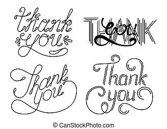 jogo, de, obrigado, mão, lettering, phrases., vetorial, illustration.