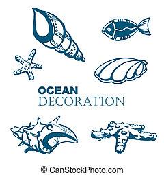 jogo, de, oceânicos, decoração