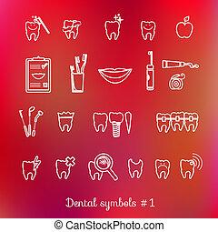 jogo, de, odontologia, símbolos, parte, 1