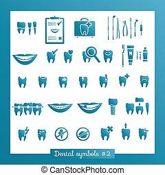 jogo, de, odontologia, símbolos, parte, 2