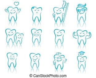 jogo, de, odontologia, símbolos