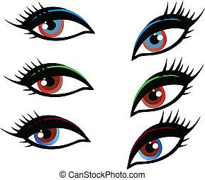 jogo, de, olhos, ilustração