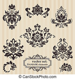 jogo, de, ornamental, damasco, ilustrações, -, para, seu, desenho, convite, saudações, em, vetorial