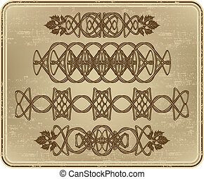 jogo, de, ornamentos, com, uva, leaves.