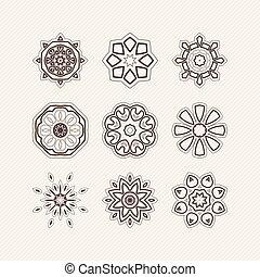 jogo, de, ornate, vetorial, mandala, symbols., gótico, renda, tattoo., celta, tecer, com, afiado, corners.
