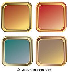jogo, de, ouro, prata, e, bronze, bordas, (vector)