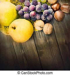 jogo, de, outono, fruta