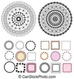 jogo, de, padrões, e, arabesques, redondo, bordas