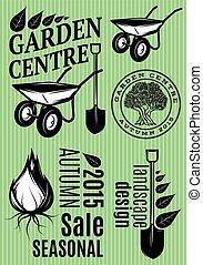 jogo, de, padrões, em, estilo retro, para, a, centro jardim, festival