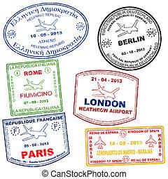 jogo, de, passaporte, selos