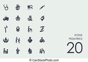 jogo, de, pediatria, ícones
