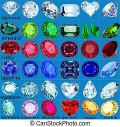 jogo, de, pedras preciosas, de, diferente, cortes, e, cores