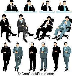 jogo, de, pessoas negócio, silhuetas, isolado, branco, experiência., 2, variantes, de, colors.