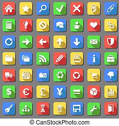 jogo, de, planície, branca, vetorial, ícones, com, sombra, effect., não, gradients.