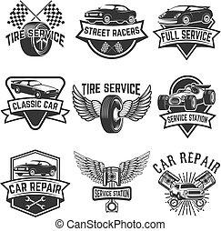 jogo, de, pneu, serviço, reparo carro, labels., pistões,...