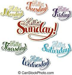 jogo, de, positivo, lettering, semana, dias