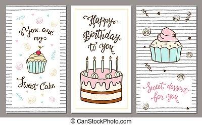jogo, de, postais, com, mão, lettering, e, doce, cake.