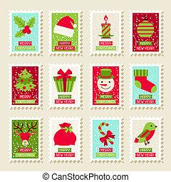 jogo, de, postal, selos, com, natal ano novo, symbols.
