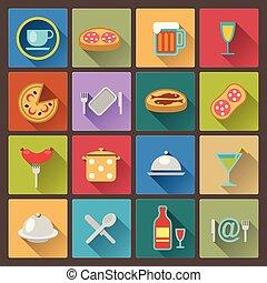 jogo, de, prato, e, ícones alimento, em, apartamento