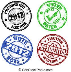 jogo, de, presidencial, eleição, grunge, selos