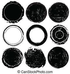 jogo, de, pretas, grunge, formas, ou, selos