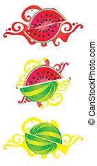 jogo, de, projeto abstrato, com, water-melon, motives