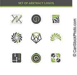 jogo, de, projeto abstrato, logotipos, para, companhia
