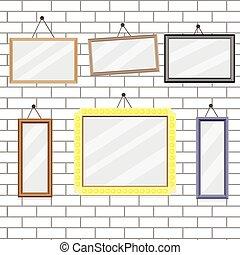 jogo, de, quadro formula, ligado, parede tijolo, modelo