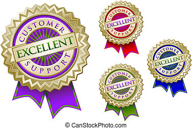 jogo, de, quatro, coloridos, excelente, apoio freguês, emblema, selos, com, ribbons.