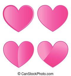 jogo, de, quatro, cor-de-rosa, corações, branco, fundo