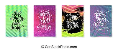 jogo, de, quatro, lettering, positivo, citação, cartazes