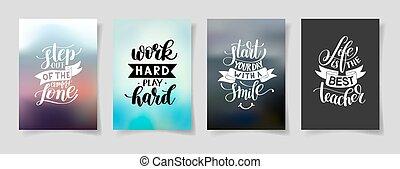 jogo, de, quatro, mão escrita, lettering, positivo, inspirational, citação