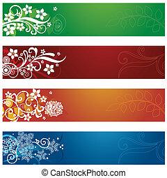 jogo, de, quatro, sazonal, floral, bandeiras