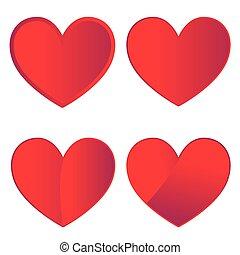 jogo, de, quatro, vermelho, corações, branco, fundo